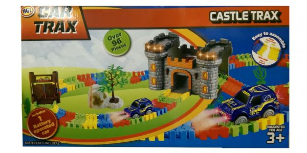 Childrens Castle Trax Car Trax Colourful Toy Racing Play Set Perfect for Boys & Girls Xmas Gift